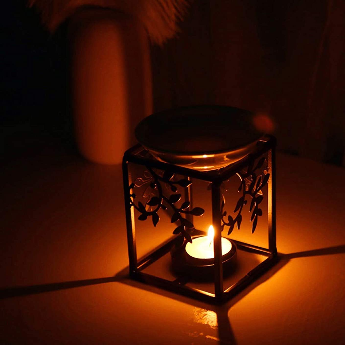 Gunel Stainless Steel Holder Essential Oil Burner Aromatherapy Wax Candle Tart Burner Warmer Diffuser Aroma Candle Warmers Decoration for Parlor Bedroom (Black)