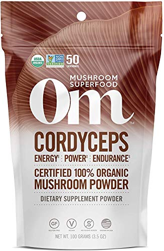 Om Organic Mushroom Superfood Powder, Cordyceps, 3.5 Ounce (50 Servings), Energy and Endurance Support Supplement
