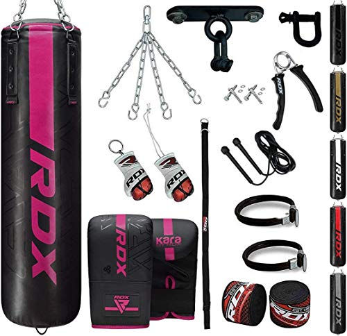 RDX 13PC Saco de Boxeo 4ft 5ft y Guantes para Entrenamiento, Relleno Kara Bolsa de Boxeo con Soporte Techo, Cadena para Muay Thai, MMA, Sparring, Kick Boxing, Artes Marciales, Punching Bag Set