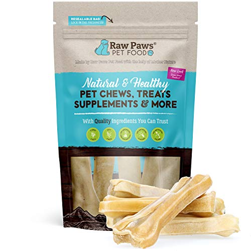 Raw Paws Pet Premium 4-inch Compressed Rawhide Bones for Dogs, 5-Count - Packed in USA - Small Dog Bones - Puppy Bones - Long Lasting Dog Chews - Natural Pressed Rawhides - Beef Hide Bones