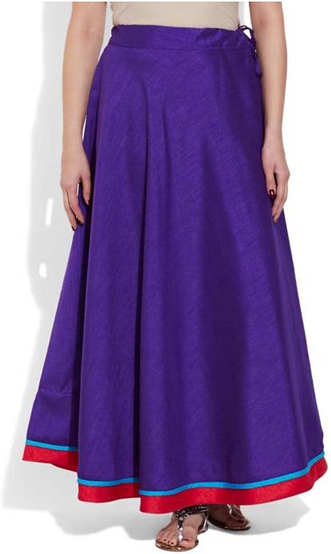 Indian Handicrfats Export Very Me Solid Women's Pleated Purple Skirt