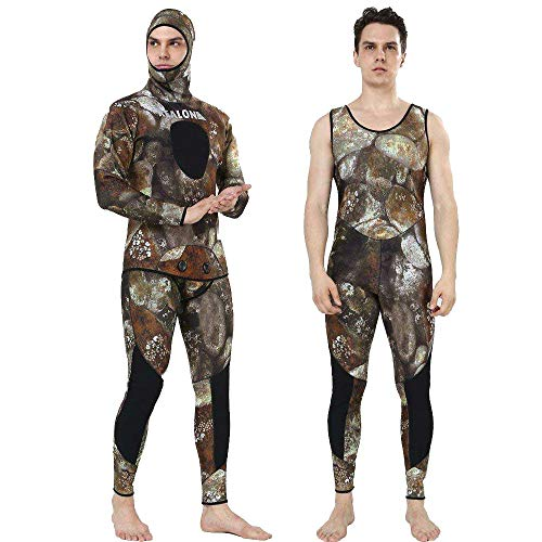 REALON Wetsuit 5mm Full Spearfishing Suit Camo Scuba Diving Suit Spearfishing Suits Snorkeling Suits Men (camo, Medium)