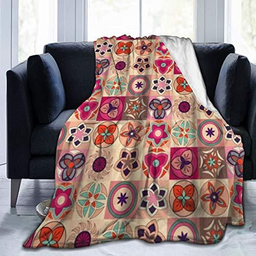 QIUTIANXIU Mantas para Sofás de Franela 150x200cm Arreglo marroquí de Azulejos y Figuras de Mosaico de cerámica con Arte geométrico matemático Manta para Cama Extra Suave