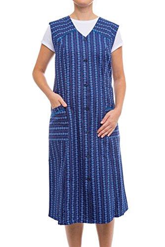 Tobeni Damen Kittelschürze Knopf-Kittel lang in 100% Baumwolle ohne Arm mit Taschen Farbe Design 12 Grösse 48