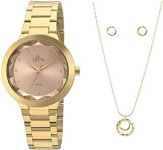 cdbac1e60f Kit Relógio Allora Feminino Facetados Al2035fkq k4k - Dourado