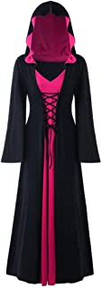 Ausexy Hooded Lace Up Patchwork Long Sleeve Long Dress for Christmas Halloween Cosplay Costumes