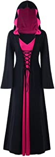 GREFER Plus Size Halloween Costumes for Women Vintage Lace Up Maxi Dress Fashion Patchwork Hooded Long Dress