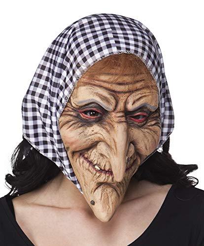 Das Kostümland Hexen Latexmaske mit Kopftuch - Zubehör Halloween Märchen Mottoparty Alte Frau Fasching