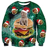TUONROAD Unique Ugly Christmas Sweatshirt Dark Green Galaxy Space Colorful Hamburger Gray Pussycat with Red White Santa Cap Funny Santa Sweater Jumper Xmas Holiday Party Long Sleeve Pullover
