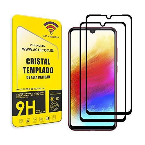 ACTECOM Pack DE 2 Protector de Pantalla Compatible con Huawei P30 LITE Negro Completa Cristal Templado 9H 2.5D (2 uds.)