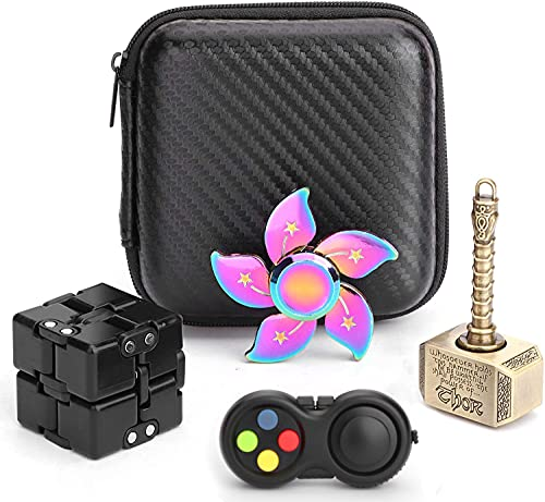 Handheld Mini Fidget Pack Toy Set Fidget Hammer Spinner, Fidget Pad Controller, Infinity Cube, Rainbow Finger Hand Spinners Stress Anxiety Relief Gift for Kids Adults with EDC ADHD Autism(4 Pack)