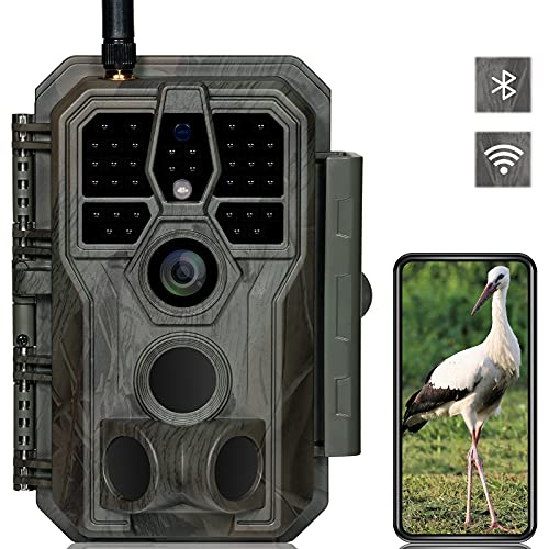 GardePro E8 Cámara de caza WiFi Bluetooth Antena 32MP 1296P con 27M 120° Infrarot Visión Nocturna Detector de movimiento Cámara de animales salvajes WiFi Teléfono Móvil, 0.1S Trigger