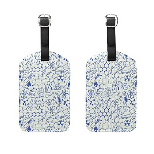 2 Pieces Science Chemistry Geometry Math Nerd Geek and Genius Luggage Tags Travel Labels Name Card Holder for Baggage Suitcase Bag Backpacks