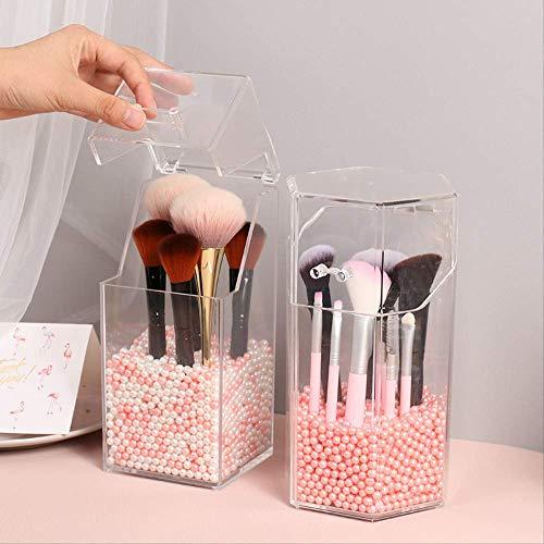 Rangement Maquillage Boîte De Rangement D'accessoires De Brosse De Support Cosmétique Acrylique Multi-style Avec Couvercle Outils De Maquillage Boîte De Perles De Stockage perles roses