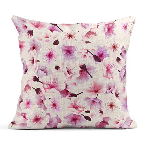 Cuscino di tiro Fiore Rosa Fiore di ciliegio Fioritura Sakura Orientale Fioritura Festa di Primavera Hanami Cuscino di Lino Floreale Cuscino Decorativo per la casa