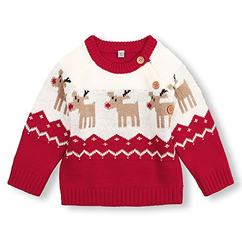 mimixiong Baby Christmas Sweater Toddler Reindeer Outfit Red Clothes 12-18 Months