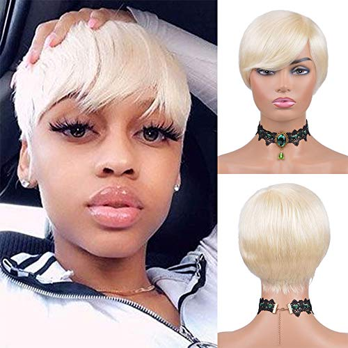Short 613 Blonde Wig for Women Human Hair Wigs Pixie Cut Wigs for Black Women Blonde for Black Women None Lace Front Wig Full Machine Wigs (613)