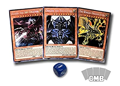 Yugioh All 3 Egyptian God Cards with a Bonus CMB Dice from Card Market Business