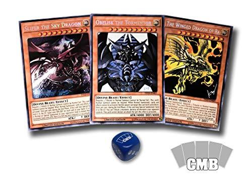 Yugioh All 3 Egyptian God Cards with a Bonus CMB Dice