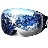 LEMEGO Ski Goggles PRO 90S Super Anti-Fog Ski Snowboard Interchangeable Lens 100% UV400 Protection Snow Goggles Anti-Slip Strap for Men&Women Silver(VLT 14.2%)