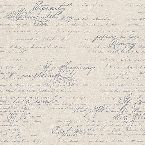 rasch Tapete 449587 aus der Kollektion Florentine II – Vliestapete in Beige mit blauer, kalligraphischer Schrift im Vintage Stil – 10,05m x 53cm (L x B)