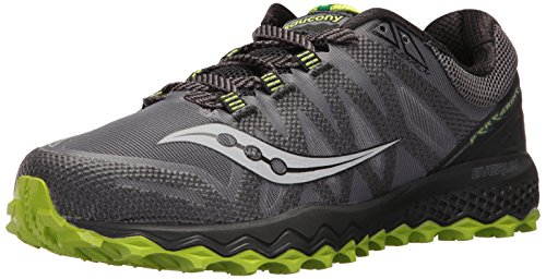 Saucony Men's Peregrine 7 Trail Runner, Grey/Black/Lime, 10.5 M US (S20359-2)
