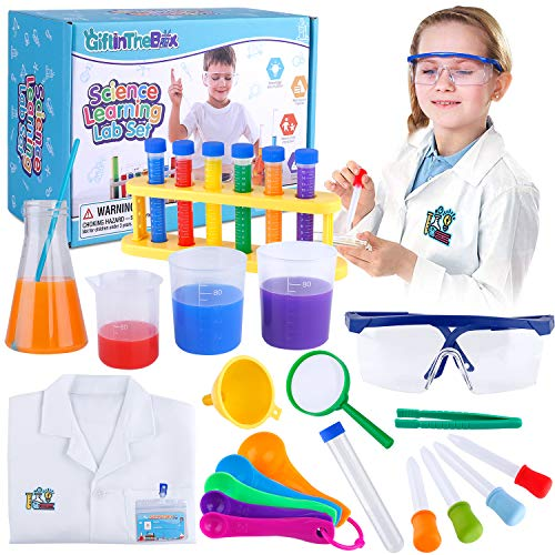 heavy duty GiftInTheBox Kids Science Experiment Set Lab Coat Scientist Dress Dress Up & Role Play Toy Gift Boys and Girls Children 5-11 Christmas Birthday