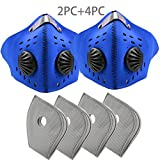 2PCS Face Shields with 4PCS Carbon Filter, PM2.5 Neoprene Unisex Face Cover-Anti Dust Pollution Pollen Allergy, Washable Windproof Breathing Cover for Bicycle, Cycling,Sports, Motorcycling (blue)