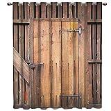 VBUEFM Cortinas Opacas Puerta de Madera Amarilla roja Cortinas con Perforaciones Cortinas Térmicas Aislantes Cortina Habitación para ventanas100% Poliester 85x200cm x2