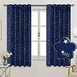 BGment Vorhänge Sterne Verdunkelungsvorhänge Blickdicht Gardine mit Stangendurchzug und Rückenschlaufen Kälte- und Wärmeisolierung für Kinderzimmer Schlafzimmer, H 137 X B 117cm, 2 Stück, Dunkelblau