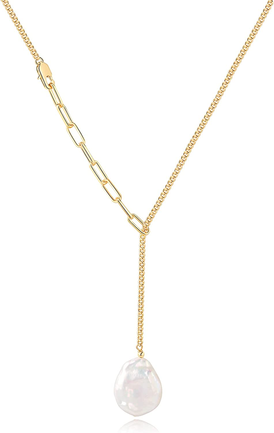 VIENNOIS Dangling Freshwater Cultured Pearl 14k Gold Link Chain Necklace 18