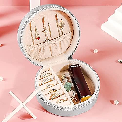 Podazz Caja de joyería de viaje redonda pequeña y portátil, de piel sintética, con cuentas de terciopelo, se utiliza para anillos, collares y pendientes, ideal para viajes de mujer