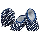 Snoozies Skinnies & Travel Pouch | Purse Slippers for Women | Travel Flats with Pouch | Cute Prints Mixed Designs | Navy w White Dots | Large