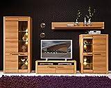 Wohnwand Anbauwand Wohnzimmerschrank 4-tlg. | Braun | Kernbuche teilmassiv | LED-Beleuchtung