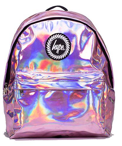 Hype Backpack Bags Rucksack - Pink Holographic Design - Ideal School Bags - For Boys and Girls - Pink Holographic