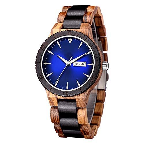 Reloj de madera natural hecho a mano, ligero, analógico, de cuarzo, para hombre, con fecha y semana