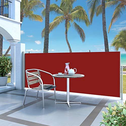Ausziehbare Seitenmarkise 140 x 300 cm Rot, mit Sonnenschutz UV-Schutz, Garten, Terrasse
