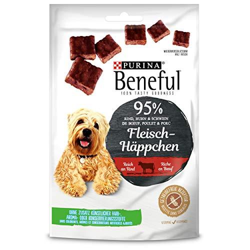 PURINA BENEFUL Fleisch-Häppchen Hundeleckerli, Snack mit 95% Fleischanteil, reich an Rind, 7er Pack (7 x 70g)
