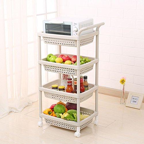 William 337 Racks de Verduras Bandejas de Almacenamiento móvil Racks de Frutas Racks de Cocina Productos Plantas de plástico 3-4 Capas Carrito de Almacenamiento Estantería rodante (Color : 4 B