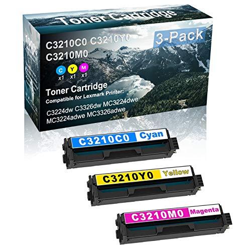 3 Pack (C+Y+M) Compatible High Capacity Printer Toner Cartridge Replacement for Lexmark C3210C0 C3210Y0 C3210M0 Printer Cartridge use for Lexmark C3224dw MC3224dwe MC3326adwe Printer