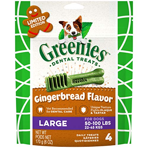 GREENIES Gingerbread Flavor Large Dental Dog Treats, 6 oz. Pack (4 Count), Great Holiday Dog Stocking Stuffers