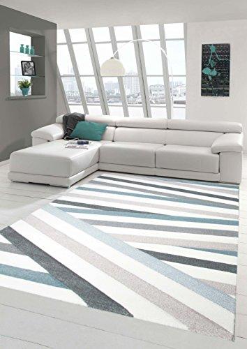 Traum Sala de Estar diseñador Alfombra Alfombra contemporánea alfombras de Pelo bajo con Corte de Contorno de Rayas de Colores Pastel Azul Crema Beige Größe 120x170 cm