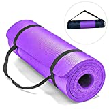 Esterilla Yoga Alfombrilla de Yoga fitness10MM Grueso 183*61cm Esterilla de Fitness Ecológica Colchoneta de Yoga Fitness Gimnasio Cámping Antideslizant con bolsillo cómoda (Morado, Grues10MM)