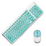 Qiekenao Silent Wireless Mouse Keyboard Set Juego de teclado Punk Redondo Juego de teclado inalámbrico y ratón inalámbrico