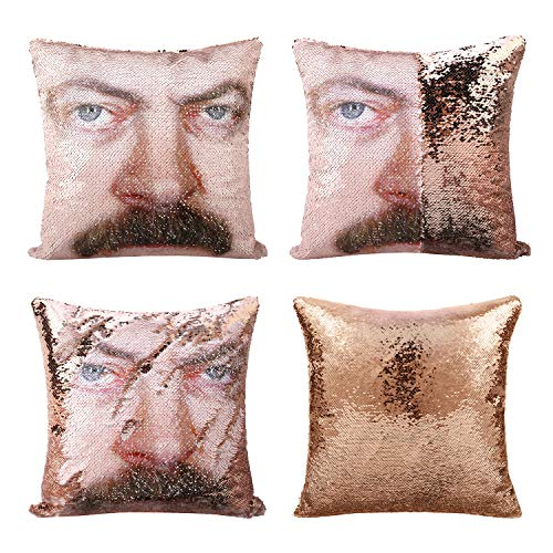 cygnus Parks and Recreaton Gifts Ron Swanson Mermaid Reversible Sequin Pillow Cover Without Insert Color Changing Sequins Throw Pillows for Couch 16x16 inches (Champagne, Type 1)