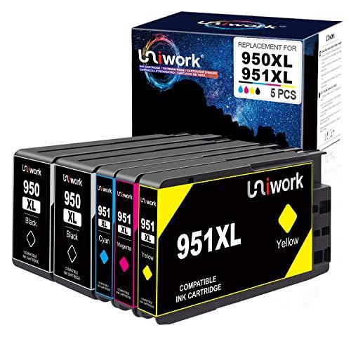 Uniwork Druckerpatronen Kompatibel für HP 950 951 950XL 951XL für HP Officejet Pro 251dw 276dw 8100 8600 8610 8615 8620 8640 (2 Schwarz, 1 Cyan, 1 Magenta, 1 Gelb)