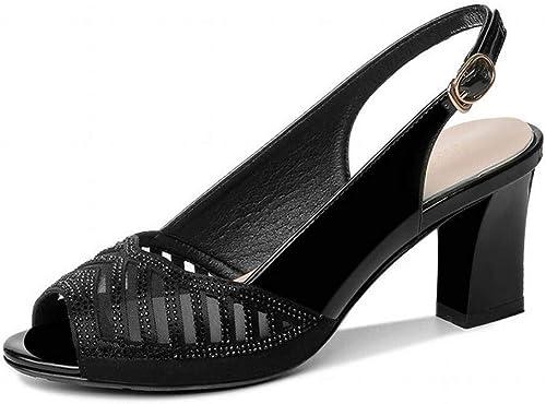 LTN Ltd - sandals Poisson Bouche épais avec Fond épais Sandales Femme été Femme Chaussures de Mode Maille Chaussures à Talons Hauts été Chaussures Femmes, Noir, 36