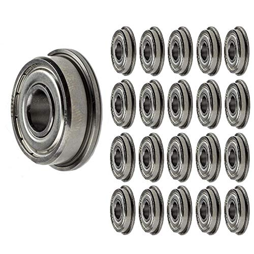 Jeremywell 100-PIECES F608-ZZ Ball Bearing 8x22x7mm, Flange Shielded Deep Groove