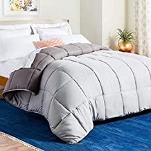 LINENSPA All-Season Reversible Down Alternative Quilted Comforter - Corner Duvet Tabs - Hypoallergenic - Plush Microfiber Fill - Box Stitched - Machine Washable - Stone / Charcoal - King