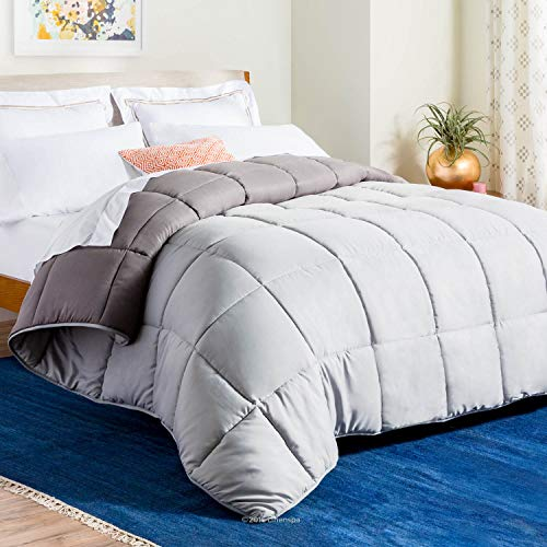 LINENSPA All-Season Reversible Down Alternative Quilted Comforter - Corner Duvet Tabs - Hypoallergenic - Plush Microfiber Fill - Box Stitched - Machine Washable - Stone / Charcoal - Queen